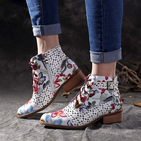 Plus Size Painted Leather Lace Up Chunky Heel Martin Boots