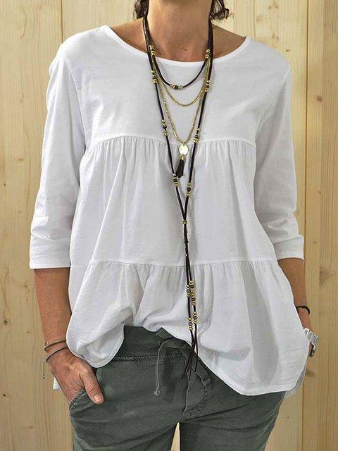 White Plain Casual Cotton-Blend Crew Neck Shirts & Tops
