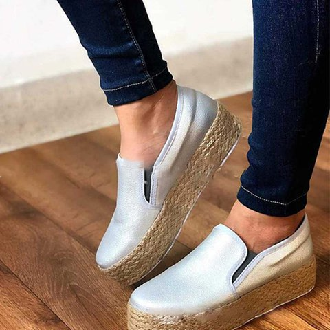 Plus Size Comfy Espadrille Loafers Slip On Sneakers