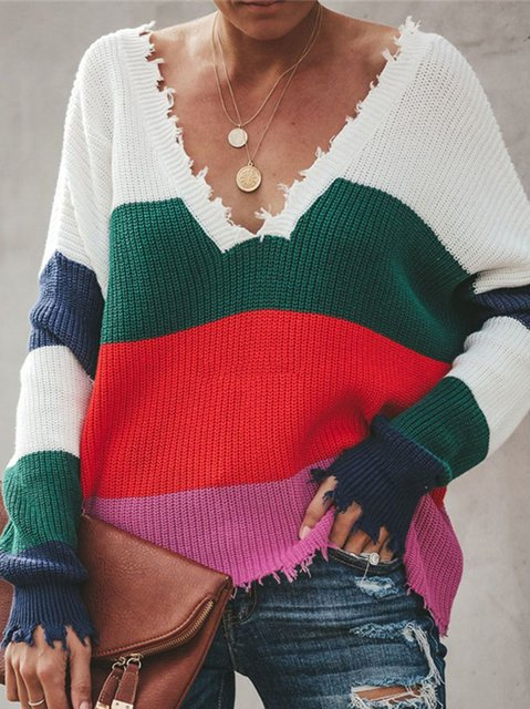 Green Casual Knitted V Neck Shirts & Tops