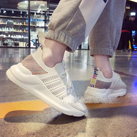 Women Round Toe Casual Lace-Up Fly-Woven Fabric Flat Heel Sneakers