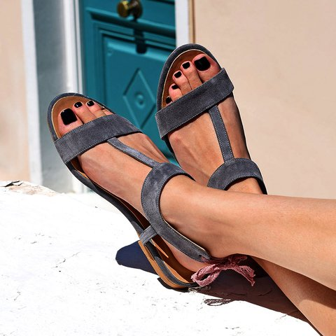 Women Round Toe Flat Sandals