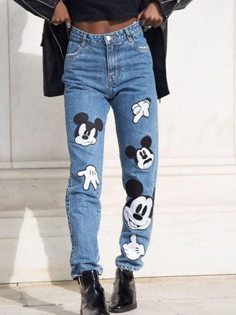 Animal Printed Denim Holiday Pants