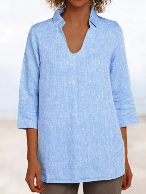 Plus Size Linen Loose Fit Women Tunic Tops