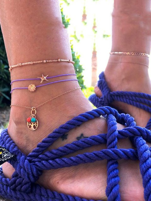 Vintage Alloy Multi-layer Anklet Chains