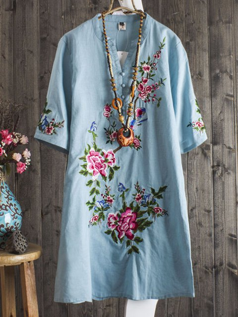 Plus Size Floral Embroidered Women Midi Dresses