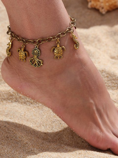 Octopus Seahorse Shell Chains Tassel Anklet