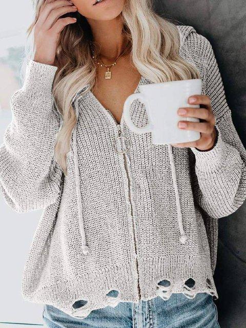 Long Sleeve Hoodie Casual Zipper Outerwear