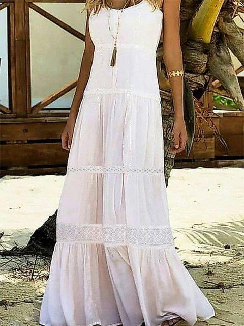 Plus Size Women Sleeveless Plain Elegant Casual Dresses