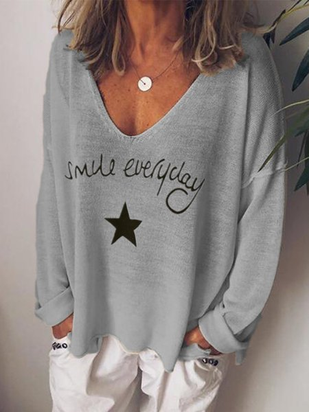 Gray Long Sleeve Casual Knitted Tops