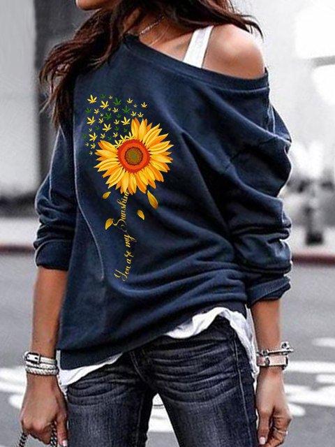 Women's Casual Falling Shoulder Sleeve Floral Printed Sweatshirt