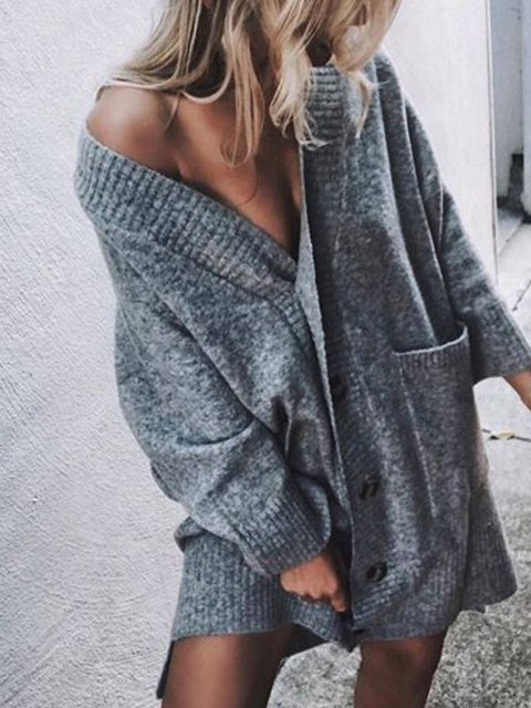 Gray Casual Plain Long Sleeve V Neck Outerwear