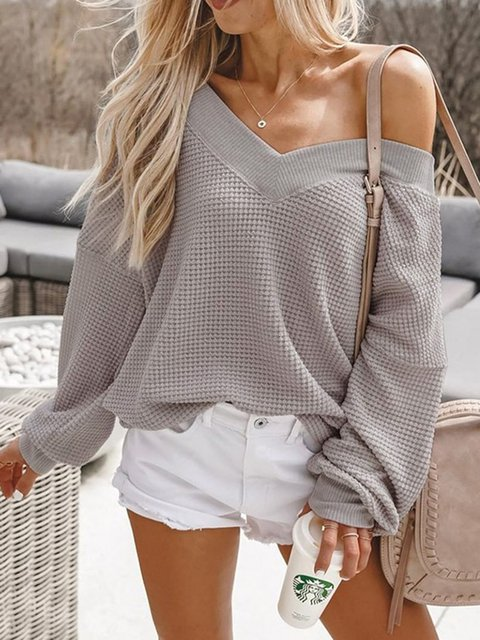 Basic Paneled Long Sleeve Shirts & Tops