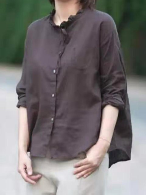 Casual Paneled Cotton-Blend Shirts & Tops