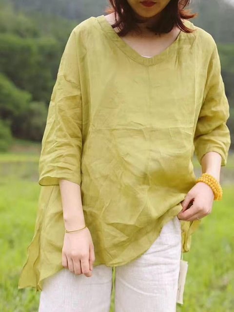 Yellow Linen Crew Neck Paneled 3/4 Sleeve Shirts & Tops