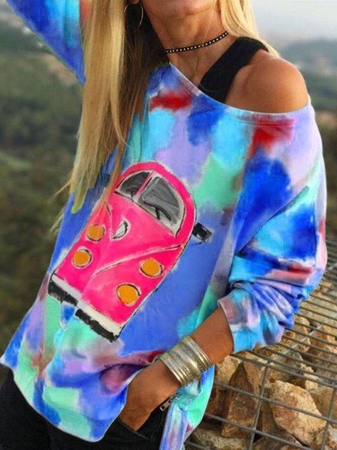 Holiday Long Sleeve Paneled Abstract Shirts & Tops