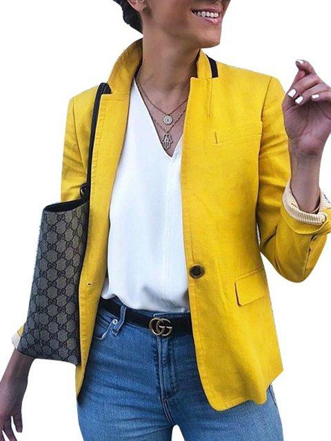 Yellow Long Sleeve Paneled Plain Outerwear