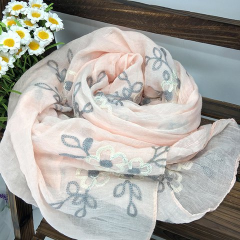 Women Embroidered Comfort Linen Scarves