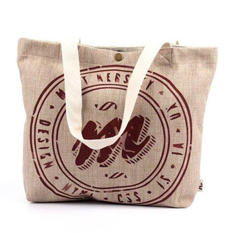 Letter Canvas Buttoned Casual Shoulder Bags