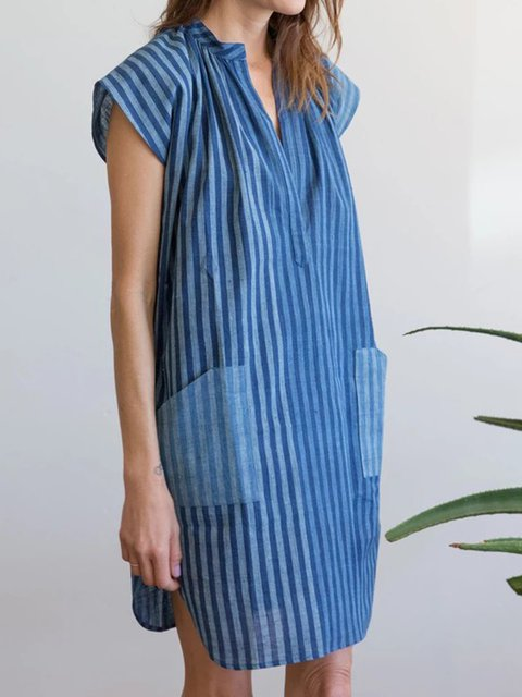 Printed Pockets V Neck Women Dresses Going Out Casual Stripes Dresses