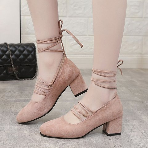 Women Round Toe Lace-Up Chunky Heel Sandals