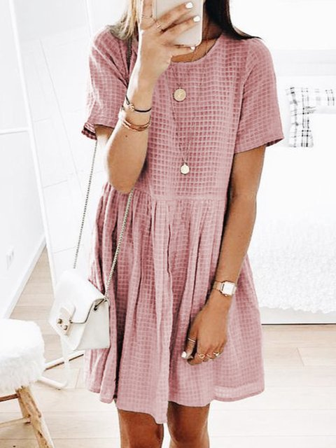 Crew Neck Women Dresses Going Out Casual Checkered/plaid Dresses