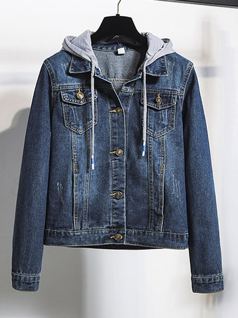 Plus Size Hoodie Casual Denim Outerwear