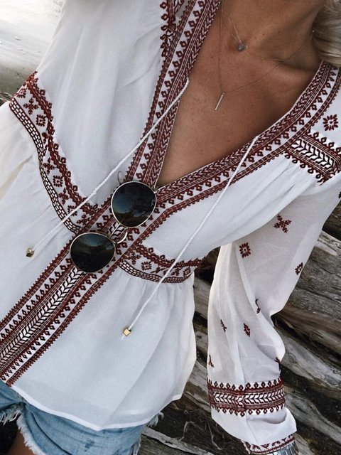 Casual V Neck Floral-Print Shirts & Tops
