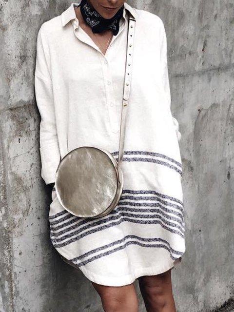 Casual Cotton Striped V Neck Dresses