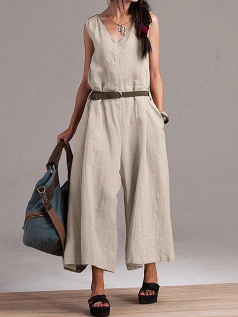 V Neck Casual Cotton Plain Jumpsuits