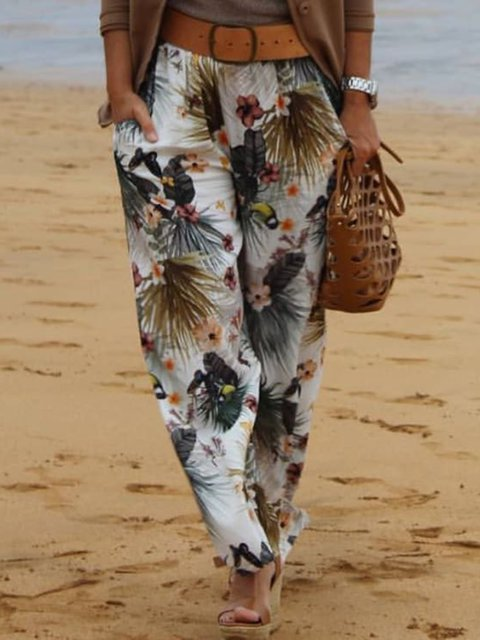 Vintage Floral-Print Pants