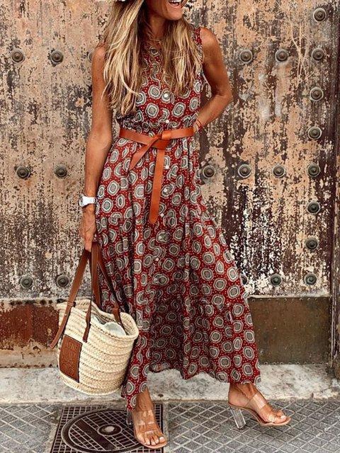 Floral-Print Sleeveless Vintage Dresses