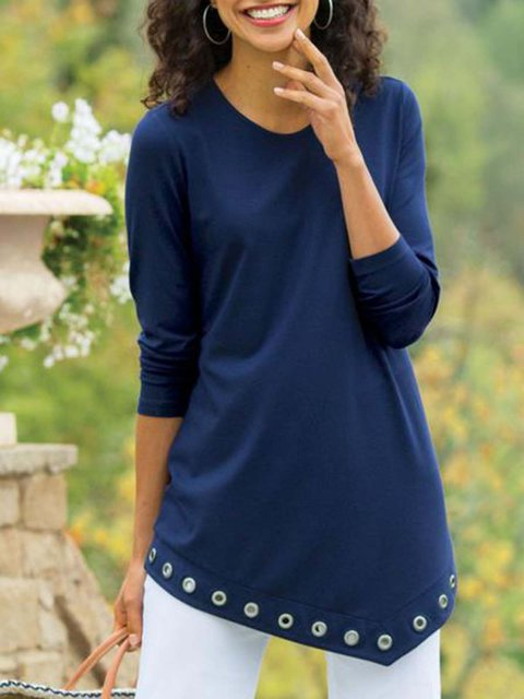 Blue Long Sleeve Cotton-Blend Casual Shirts & Tops