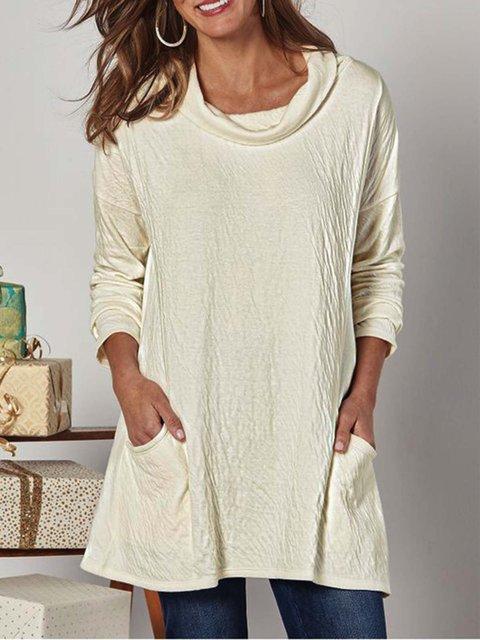 Beige Plain Crew Neck Cotton-Blend Casual Shirts & Tops