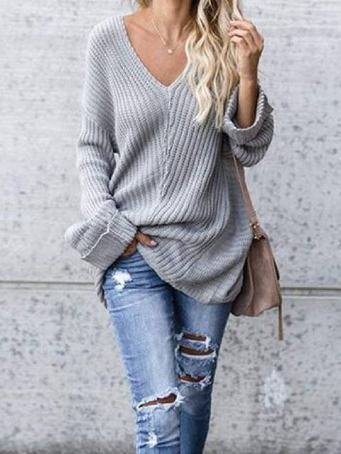 Light Gray Vintage Knitted V Neck Shirts & Tops