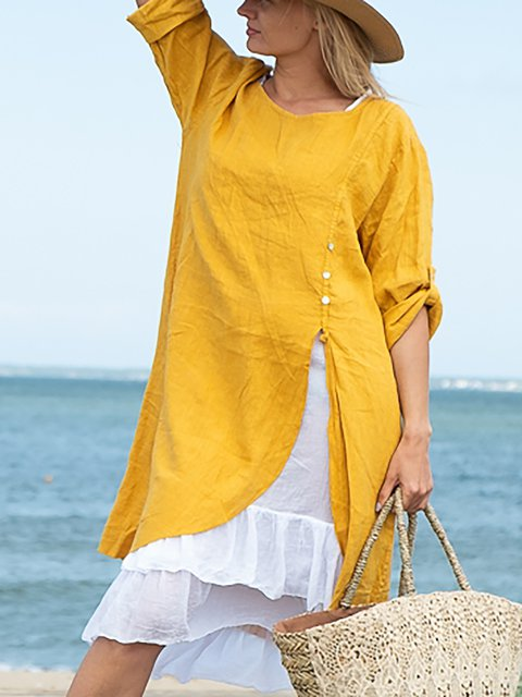 Plus Size Round Neck Women Caftans Shift Daily Casual Linen Dresses