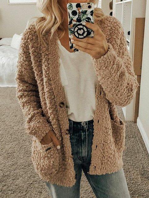 Plus Size Pockets Coat Women V Neck Long Sleeve Outerwear