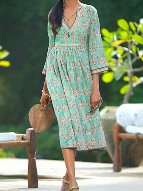 V Neck Women Dresses Going Out Cotton Printed Dresses