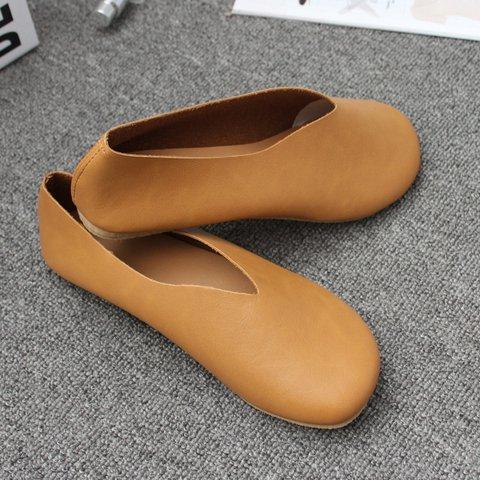 Pu Flat Heel Slip-On Flats Womens Round Toe Comfy Shoes