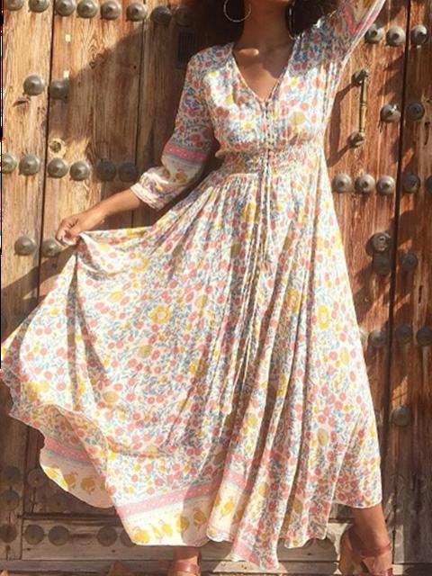 V Neck Women Dresses Shift Daily Floral-Print Floral Dresses