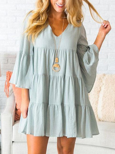 V Neck Women Dresses Going Out Paneled Dresses