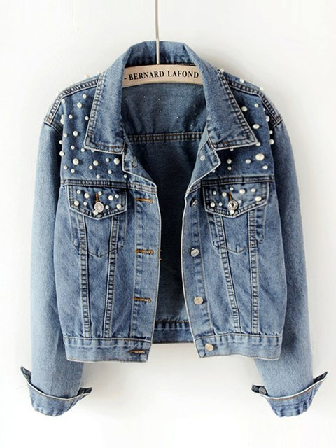 Plus Size Beaded Pockets Casual Denim Coats