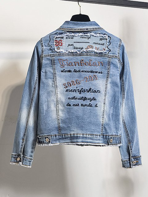 Plus Size Embroidered Pockets Denim Coats