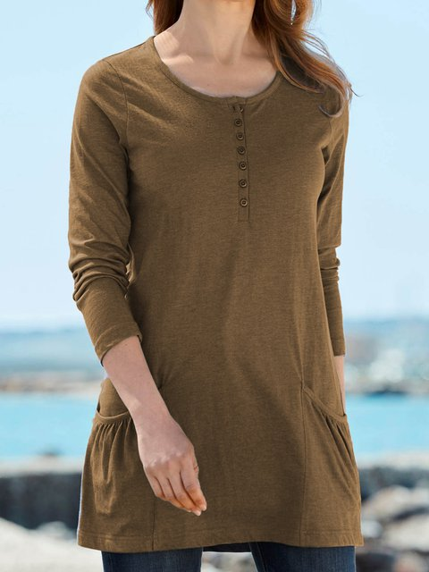 Plus Size Round Neck Casual Buttoned Solid Pocktets Detailed Tunic Tops