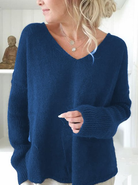 Plus Size V-Neck Long Sleeves Solid Casual Sweaters