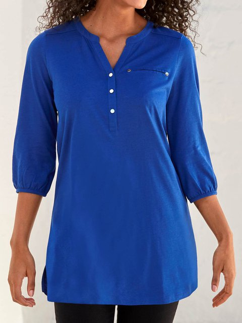 Plus Size V Neck Buttoned Shift 3/4 Sleeve Solid Shirts