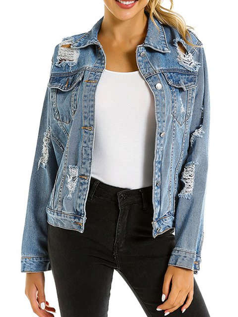 Blue Ripped Pockets Casual Denim Jackets