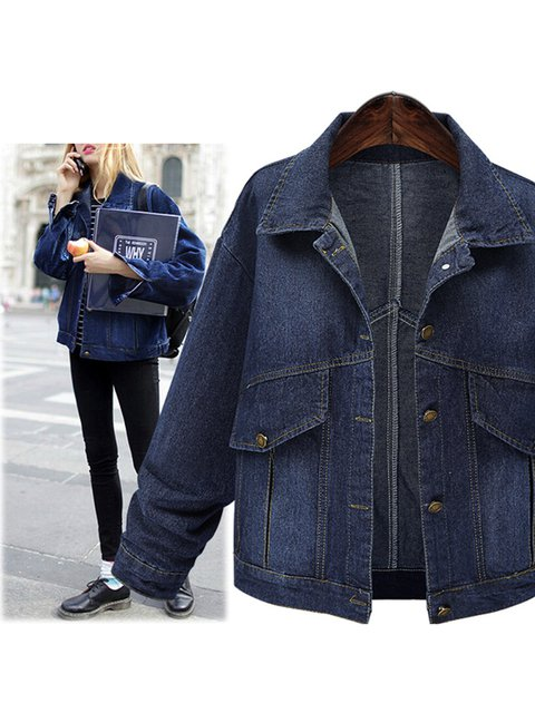 Deep Blue Batwing Pockets Casual Denim Outerwear