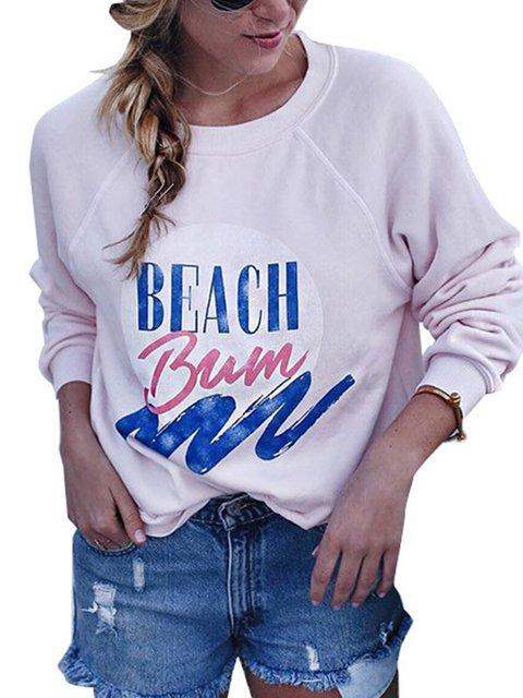 Pink Paneled Crew Neck Letter Basic Shirts & Tops