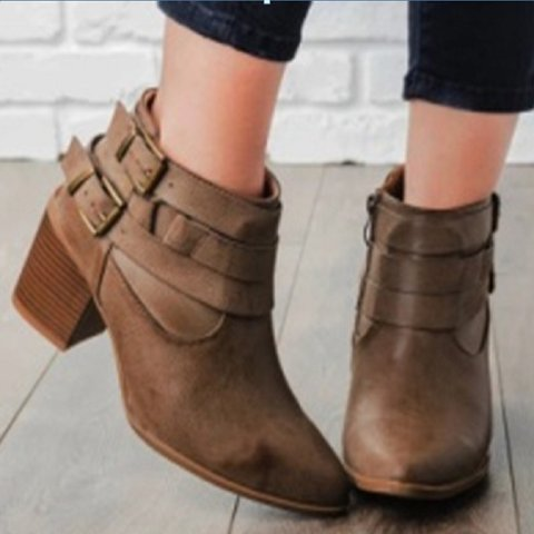 Chunky Heel Double Buckle Strap Ankle Booties